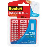SCOTCH R100 MOUNTING TABS RESTICKABLE CLEAR 25.4x25.4mm 18 TABS