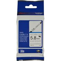 BROTHER HSE-211 SHRINK TUBE 5.8mm BLACK ON WHITE COMPATIBLE WITH PT-E300VP