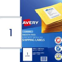 AVERY L7167 SMOOTH FEED LASER LABELS 1/S 199.6 X 289.1mm PKT250