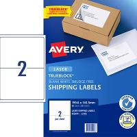 AVERY L7168 MAILING LASER LABELS 2/S 199.1 X143.5mm PKT25