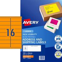 AVERY L7162FO  FLUORO ORANGE LABELS 16 PER SHEET 99.1 X 34.0mm