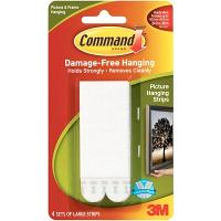 3M COMMAND 17206 WHITE LARGE PICTURE HANGING STRIPS PKT4