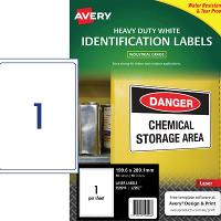 AVERY LABELS L7067-10 HEAVY DUTY 1 PER PAGE 199.6 X 289.1MM