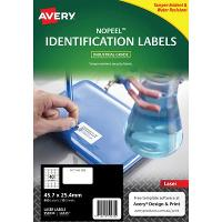 AVERY 959230 NO PEEL INDUSTRIAL LABELS WHITE L6145 40/SHEET 45.7X25.4MM