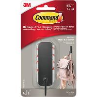 3M COMMAND DECORATIVE HOOK 17034MB-ES MEDIUM SINGLE MATTE BLACK