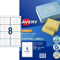 AVERY INKJET LABELS J8565 99.1x67.7mm FROSTED CLEAR 8/S PKT25