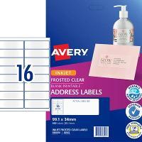 AVERY J8562-25 CLEAR INKJET LABELS  16/S