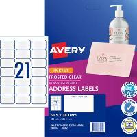 AVERY J8560-25 CLEAR INKJET LABELS  21/S